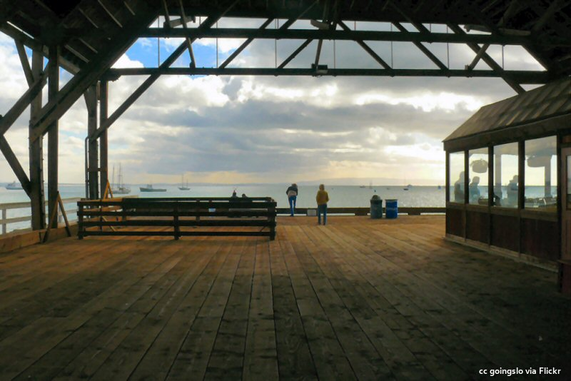 The view from the end of the Port Harford pier in Avila Beach