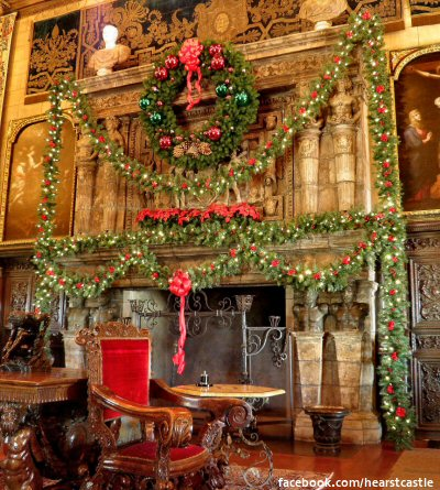 One of the grand fireplaces at Hearst Castle decorated lavishly with wreath and garlands