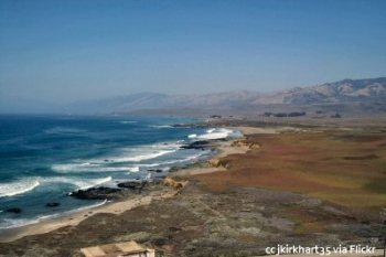 View north toward Big Sur from the top of the Piedras Blancas Lighthouse
