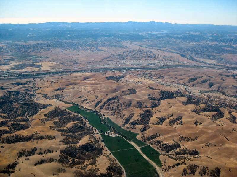 An aerial view of Vineyard Canyon looking toward the southwest