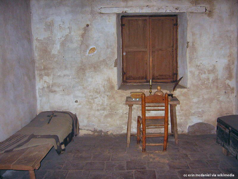 A Franciscan friars simple room at Mission Carmel