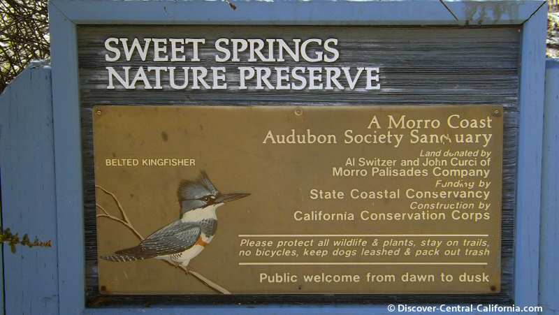 The main sign at Sweet Springs Nature Preserve in Los Osos
