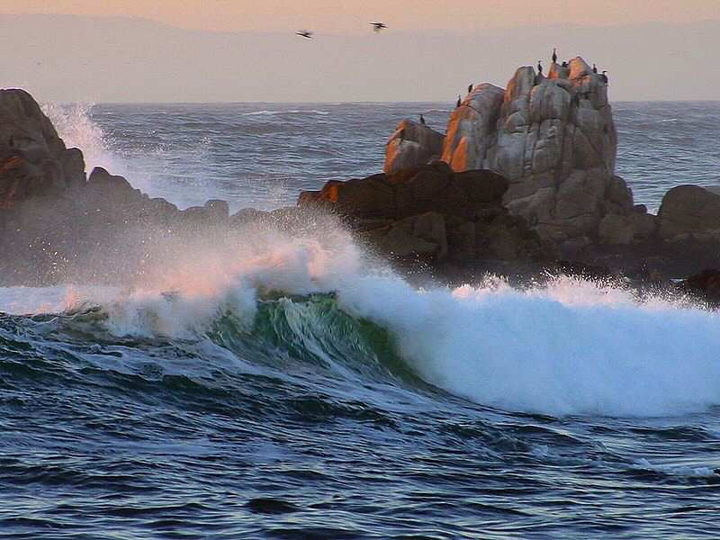 Big surf on the rocks at Asilomar State Beach