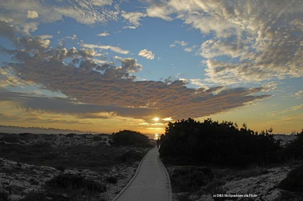 The setting sun over the Asilomar Beach boardwalk