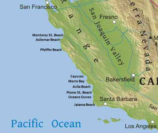 Beach Wheelchair Availability And Accessible Beaches In Central - Map of central california