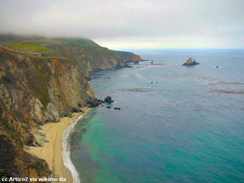 The view from near the Bixby Creek Bridge toward Hurricane Point to the south