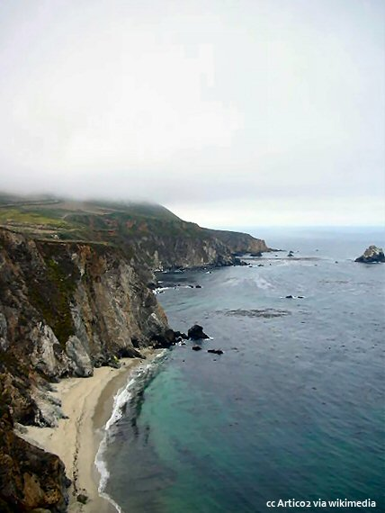Big Sur coastline under a layer of fog