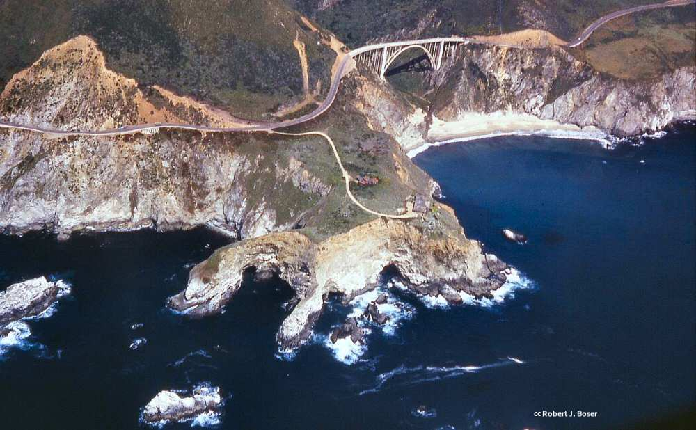 Aerial view of the Bixby Bridge and surrounding area