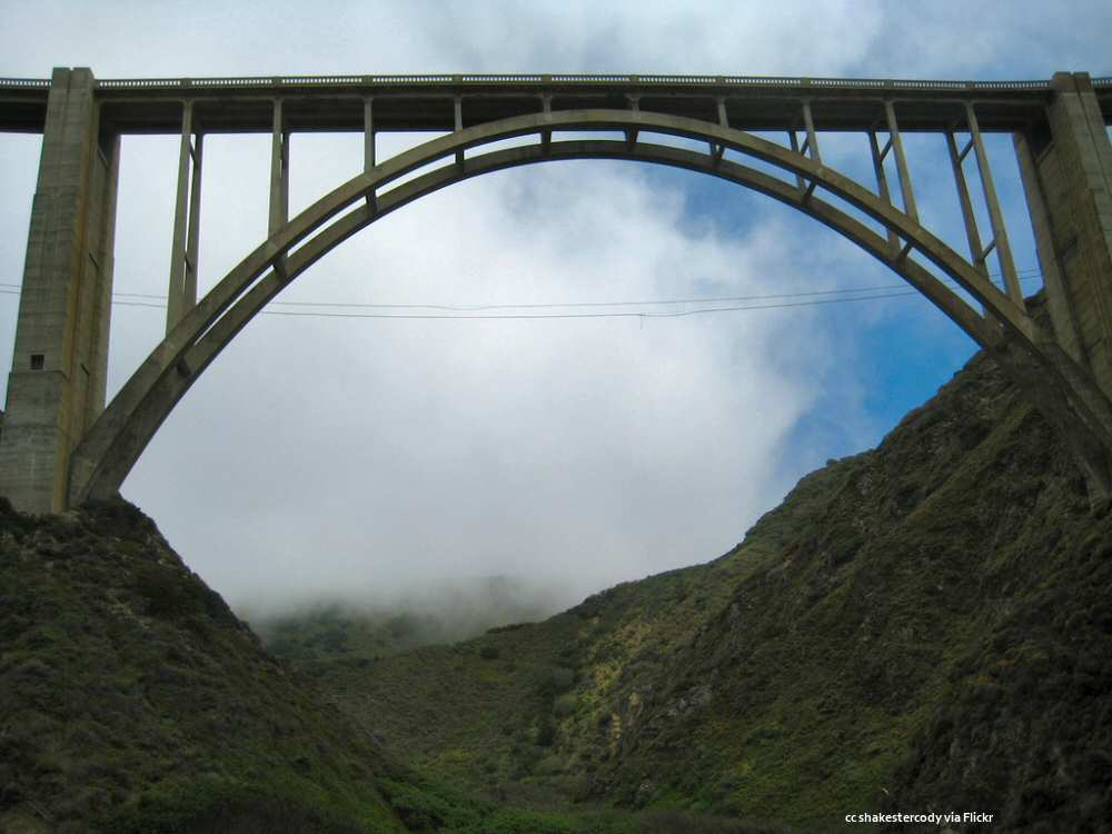Bixby Bridge viewed from below at creek level