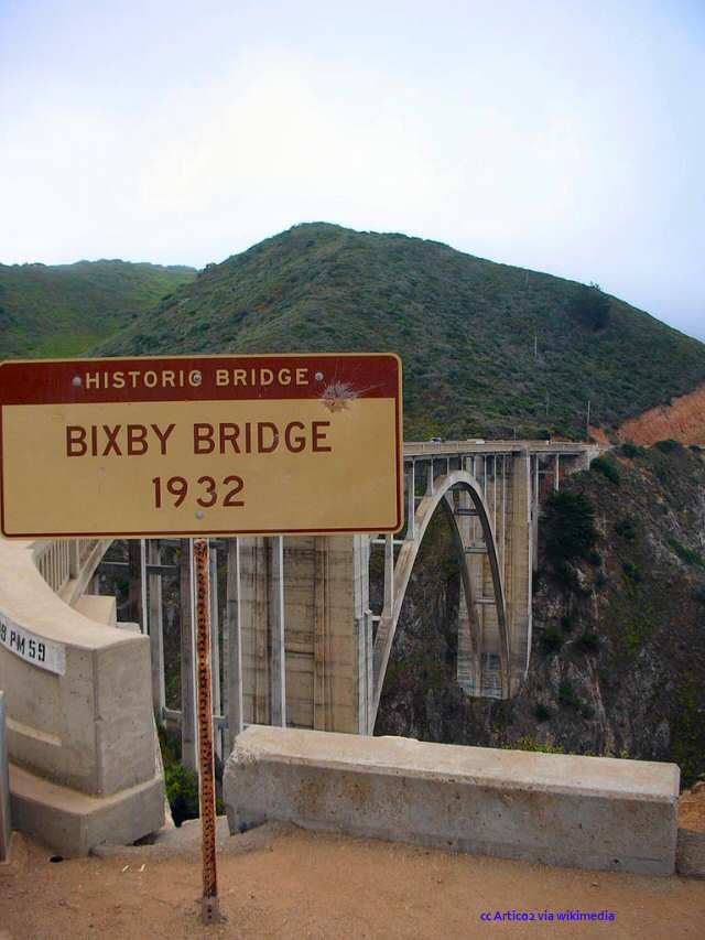 Sign denoting Bixby Bridge as Historic