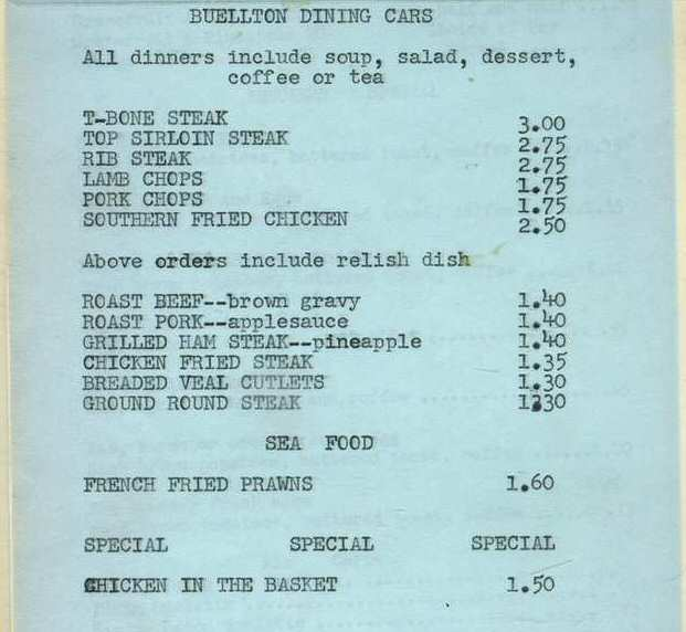 Menu from Buellton Dining Cars