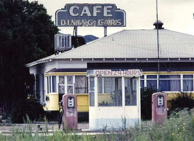 Buellton Streetcar Diner showing gas pumps