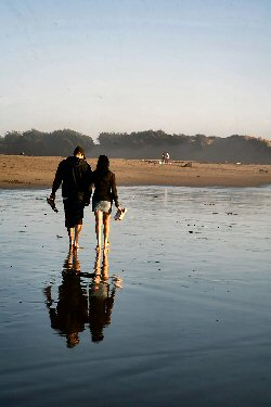 Walking on the beach with your honey, fine indeed.