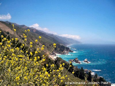 A springtime view of the Big Sur coastline looking south