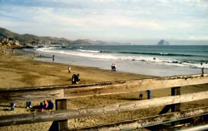 Cayucos beach and Morro Rock from the Cayucos pier