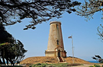 Photo of the Piedras Blancas Lighthouse before its new paintjob