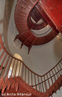 Iron stairway inside the Piedras Blancas Lighthouse