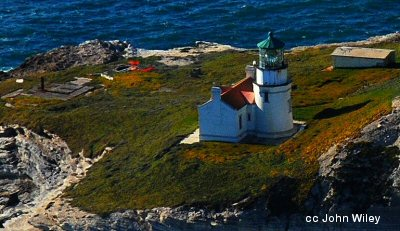Aerial view of Point Conception lighthouse