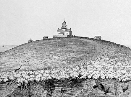 1856 drawing of the lighthouse at Point Conception