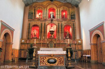 Mission San Juan Bautista main altar and retablo