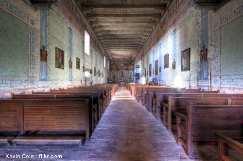 Interior of the church at Mission San Miguel