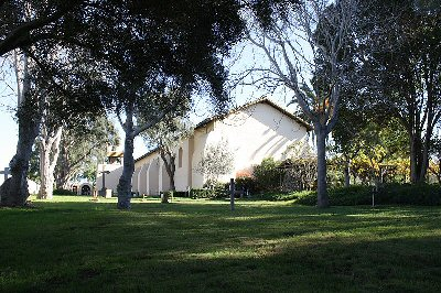 A rearview of the church at Santa Ines Mission