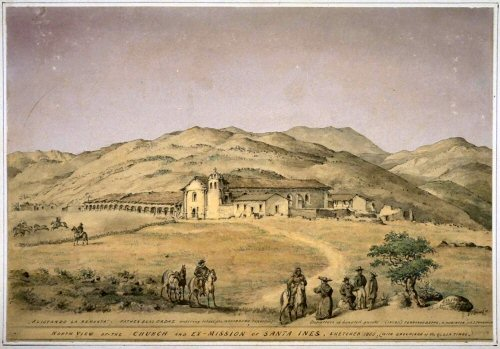 1865 Edward Vischer sketch of Mission Santa Ines