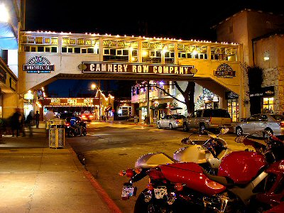 Cannery Row Monterey lit up at night