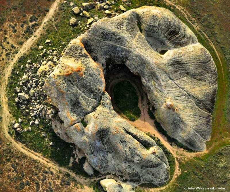 Aerial view of the Painted Rock on the Carrizo Plain