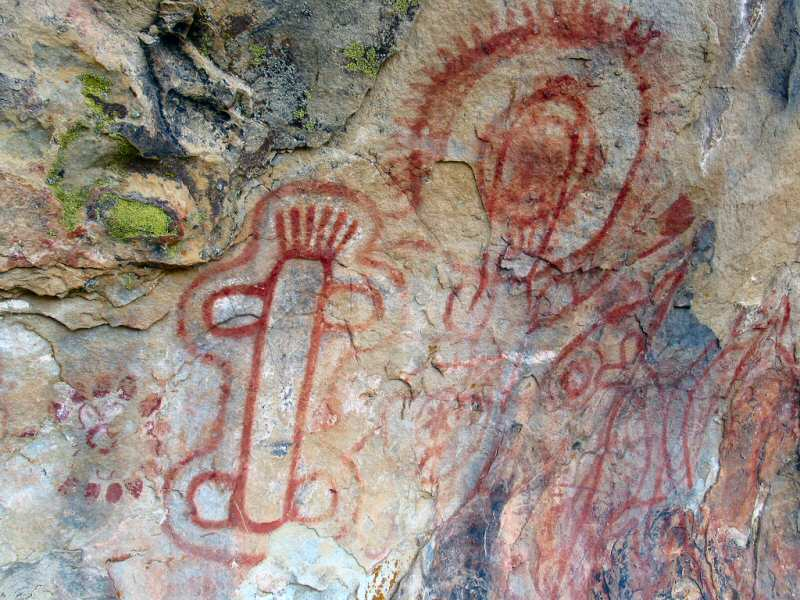 Some of the many Native American pictographs on the Painted Rock, Carrizo Plains