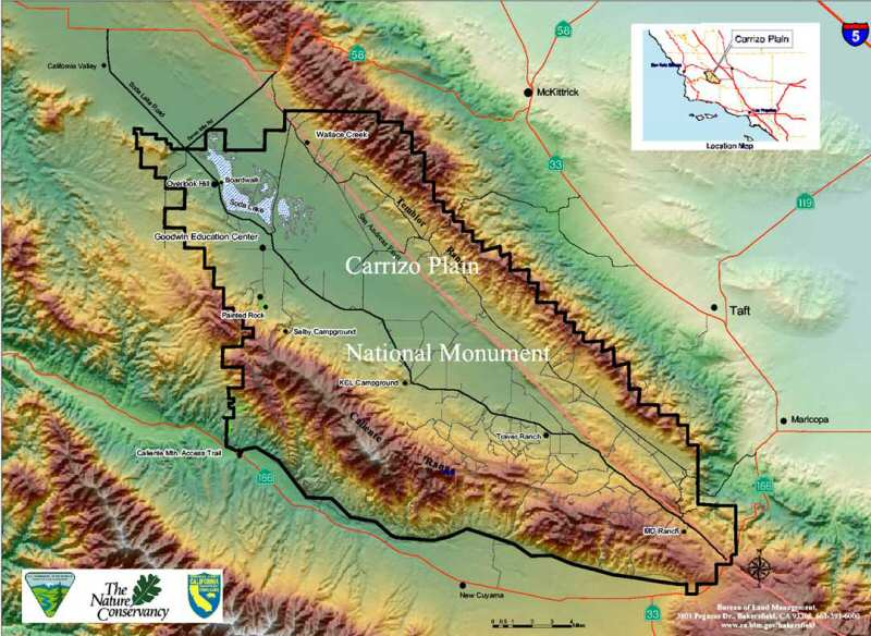 Physical relief map of the Carrizo Plains National Monument