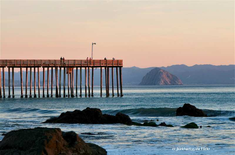 Cayucos pier and Morro Rock