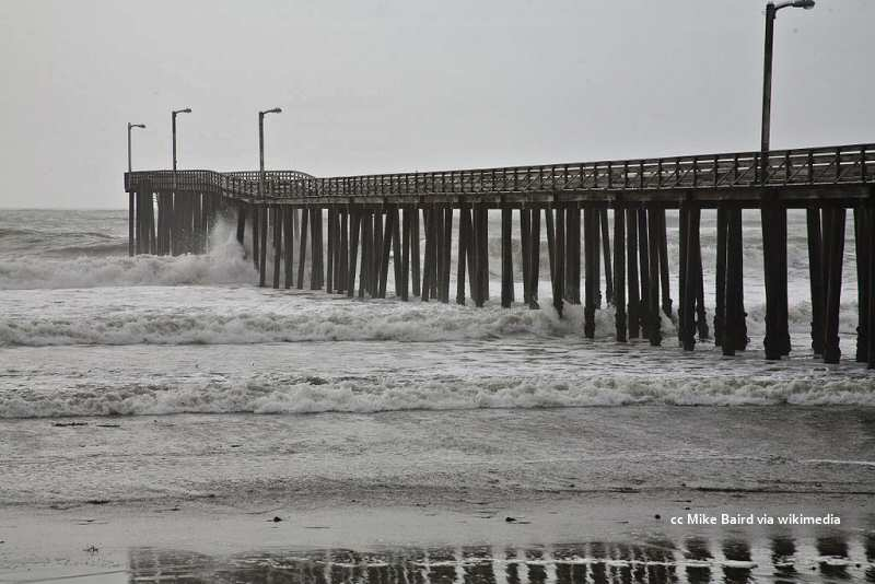 A winter storm battering the Cayucos Pier