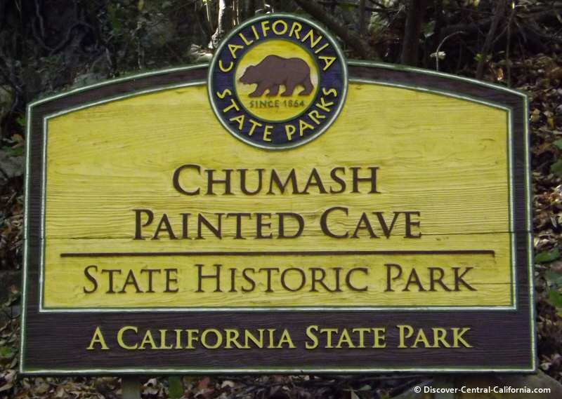 The main sign at the Chumash Painted Cave State Park