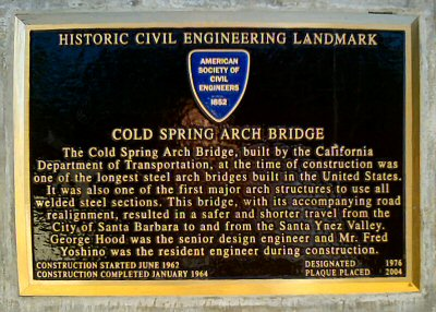 The plaque commemorating the Cold Spring Bridge as an Engineering Landmark