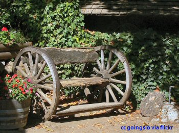 Rustic bench at the Cold Spring Tavern