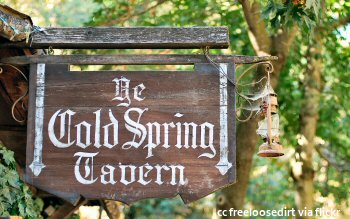 The main sign at the tavern