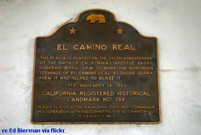 El Camino plaque in San Francisco