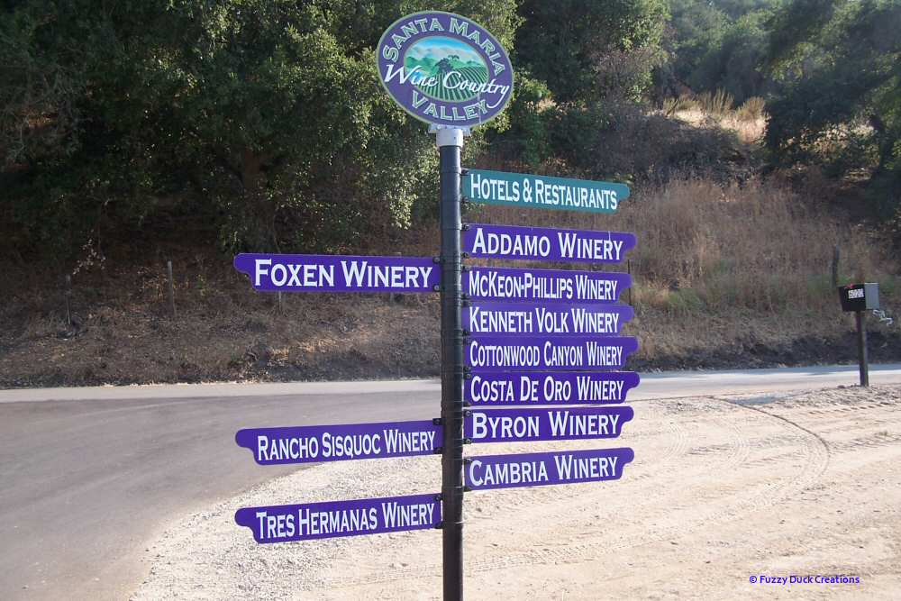 Santa Maria Valley wine trail sign