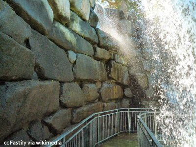 Behind the waterfall at Gilroy Gardens
