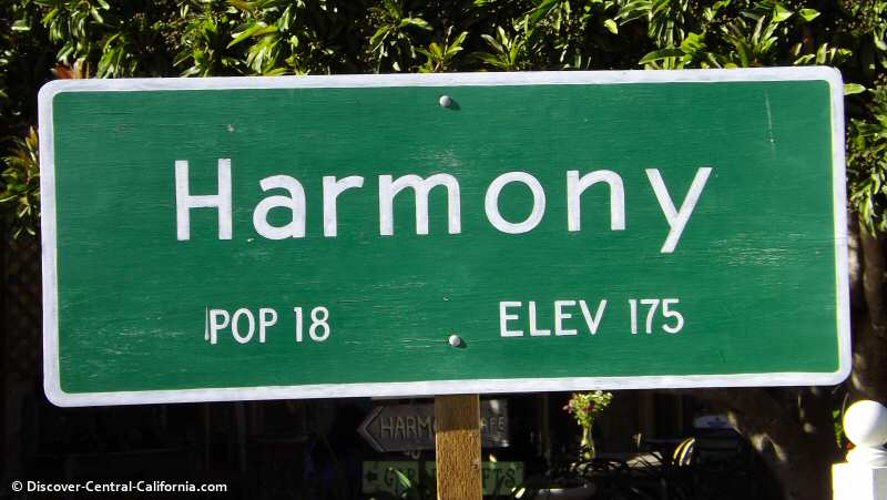 Harmony's town sign - Population 18