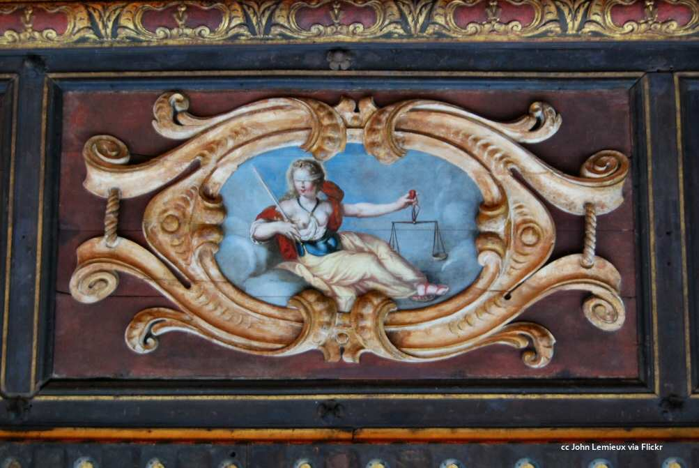 Ceiling panel of Justice blindfolded and with scales