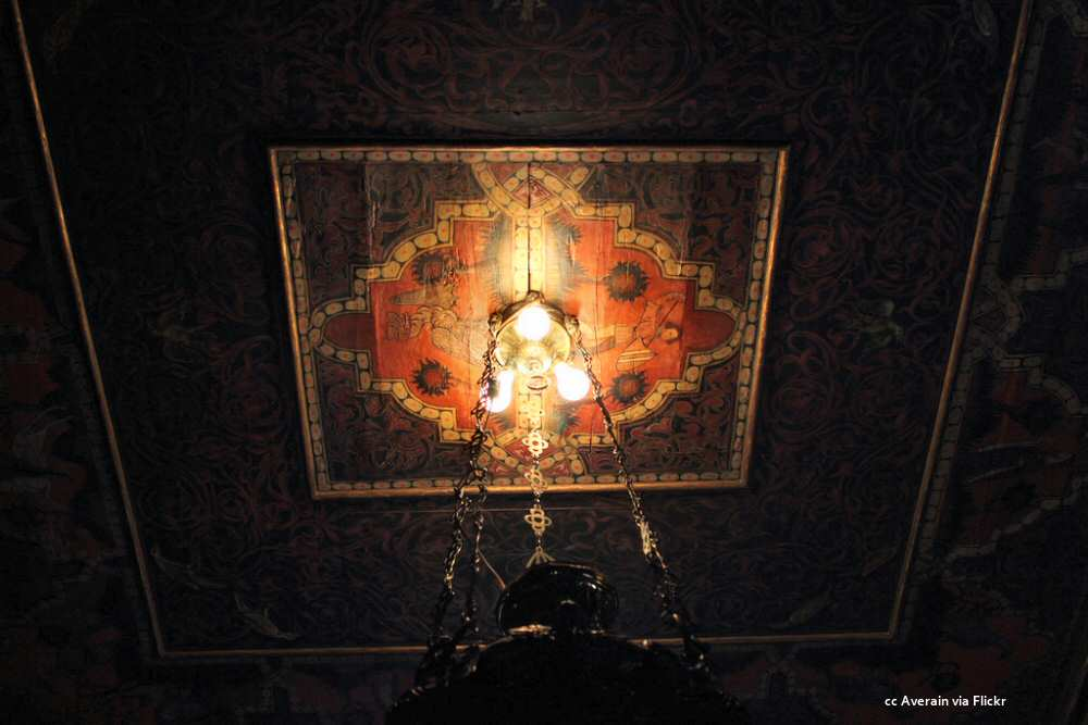 Painted and carved ceiling
