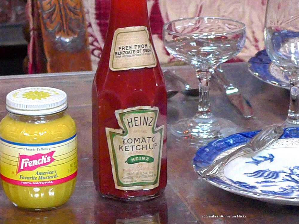 Hearst Castle dining table condiments