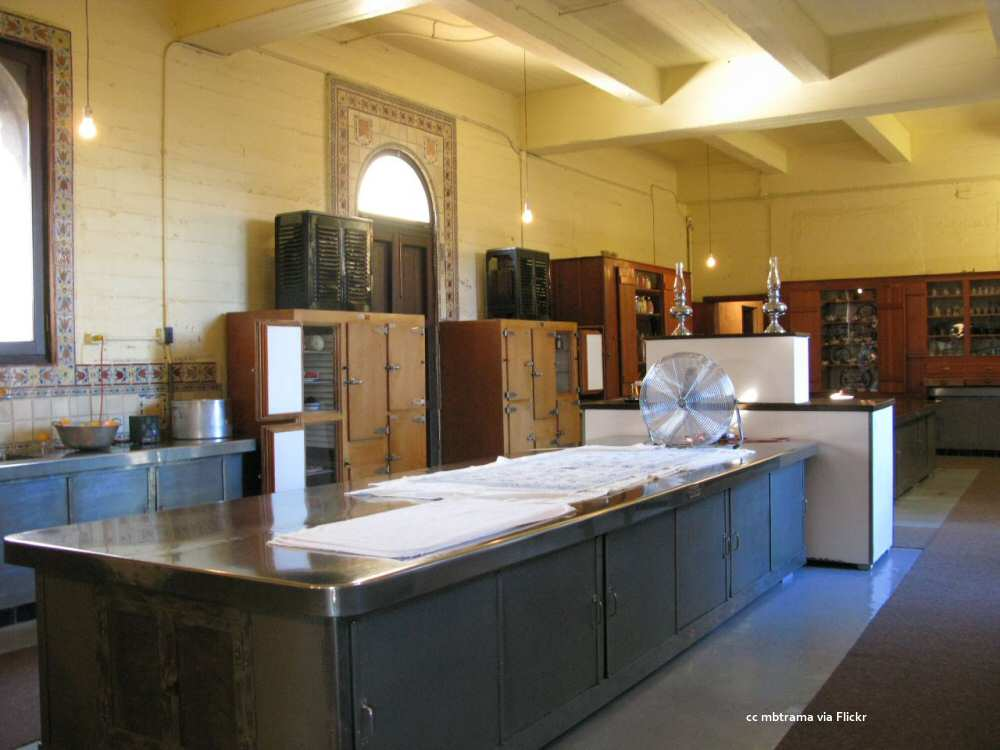 A portion of the large kitchen