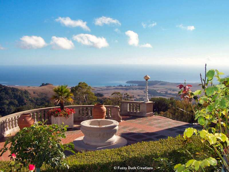 A spectacular ocean view from the terrace at Hearst Castle