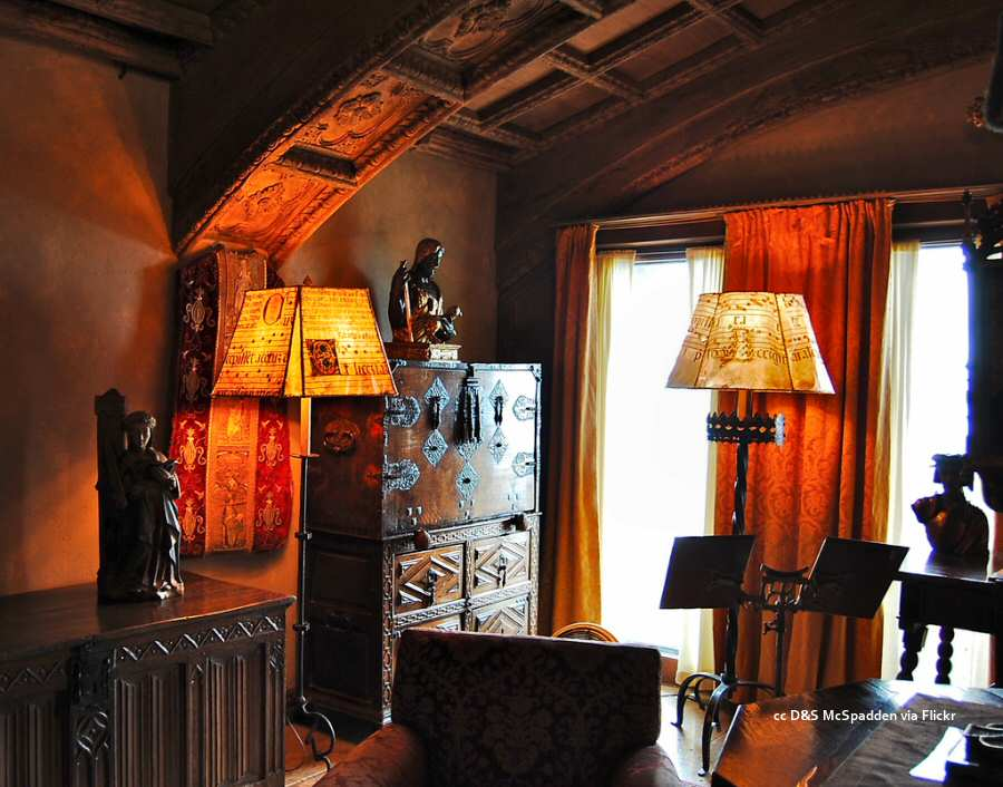 Room with vellum lampshades