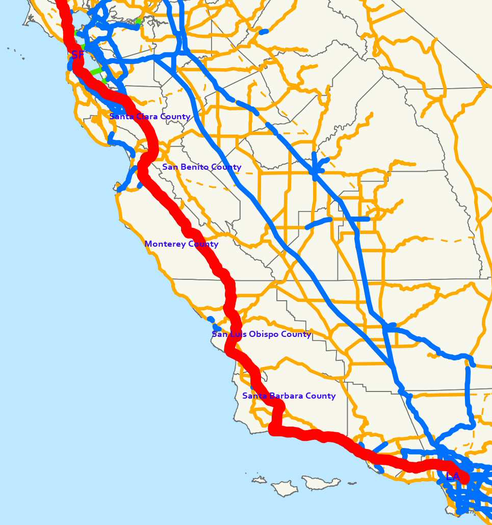 Map Of Highway In California California Map Us Freeway Map