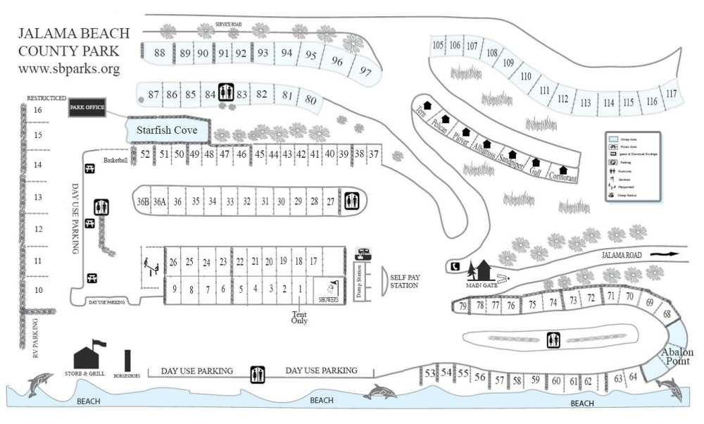 Map of the campsites and facilities at Jalama Beach