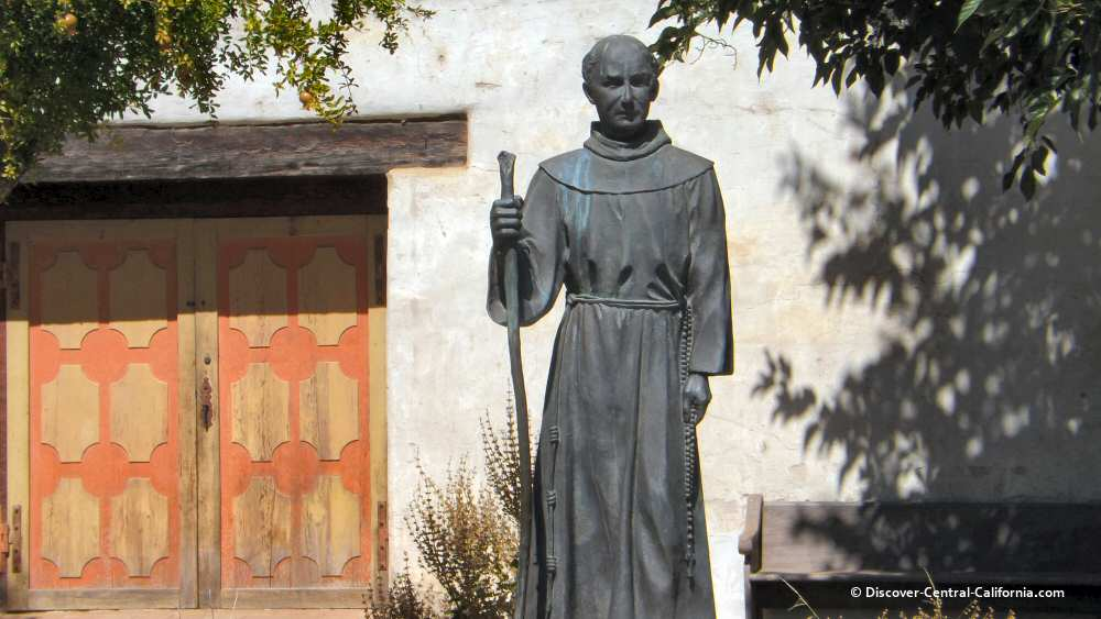 The statue of Junipero Serra at Mission San Miguel
